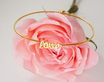 Gold Cursive LOVE Bangle Bracelet. **gold script - Love