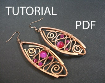 Wire wrapped earrings tutorial, jewelry pattern, tutorial in handmade, wire wrap tutorial instructions, pdf tutorial, earrings pdf lessons