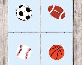 Sport Printable Art Set Baseball Basketball Football Soccer Sports Print Wall Art, 8 x 10 Instant Download Digital File