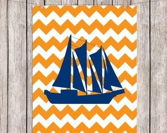 Nursery Printable Art Sail Boat Art Print Chevron Sailboat Nautical Wall Decor, 8x10 Instant Download Digital File