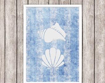 Nautical Printable Art Sea Shells Seashells Blue Art Print, Wall Art 8 x 10 Instant Download Digital File