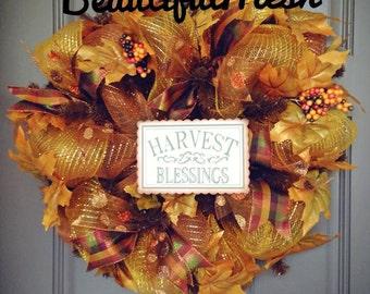 Harvest Blessings Fall Deco Mesh Wreath, Fall Wreath, Harvest Wreath, Autumn Wreath, Thanksgiving Wreath