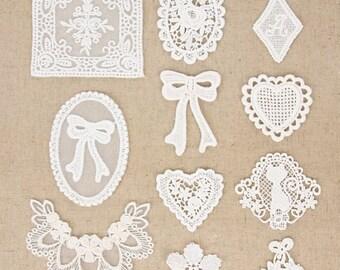 2 pcs of Cotton Lace Applique, White, 11 Patterns available, btz