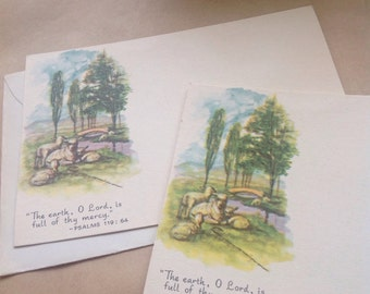 Psalm 119:64 vintage postcards with envelopes