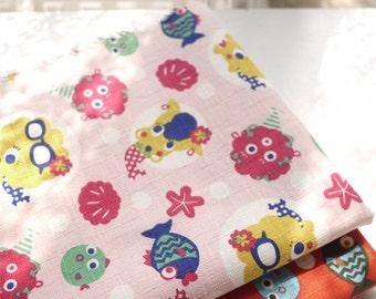 Pink and red fabric with cute fish slub cotton fabric patchwork fabric Quilted fabric bag fabric handmade fabric 1/2 yard