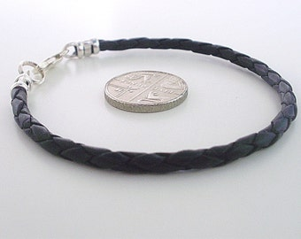 Mens Black Leather Braid Sterling Silver Bracelet, Black Leather Bracelet Wristband, boyfriend gift,husband gift,gift for men,brother gift
