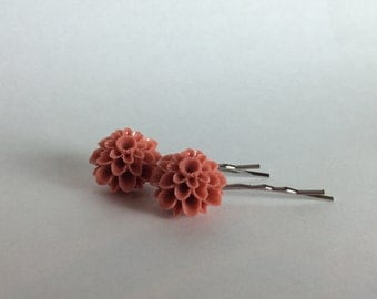 Rose Color Floral Hair Pins