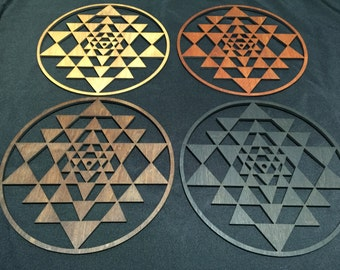 Sri Yantra Wall Art in 4 variations of stain color- Natural, Brown, Red and Black