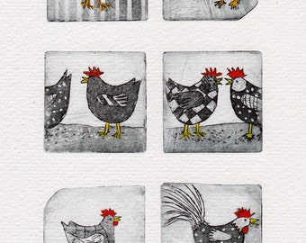 Chickens parade - Barnyard - humor - Interior - original Watercolour - prints colored - etching - limited edition
