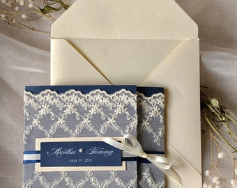 Navy Wedding Invitation (20), Lace Wedding Invitations, Vintage Wedding Invitation, Ecru Navy Invites, 4lovepolkadots,