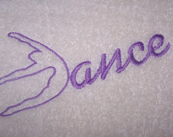 Personalised embroidered Dance  bath towel (100% cotton)