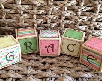 Baby Girl Nursery Decor - Personalized Name Blocks - Baby Shower Gift - Shabby Chic - Bird Nursery