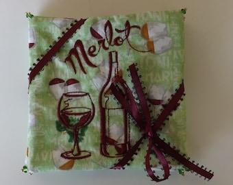 Machine Embroidered Wine Coasters Set