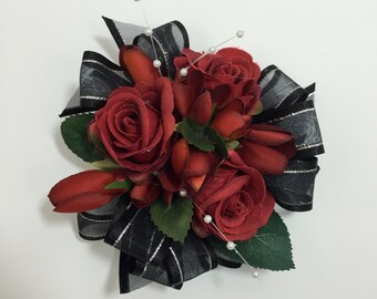 Mini Red And Black Rose Corsage