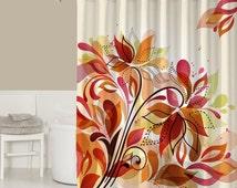 floral shower curtain contemporary bathroom decor rust