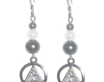 Style #1126 Alcoholics Anonymous Sterling Silver 6mm CZ Triangle AA Earrings
