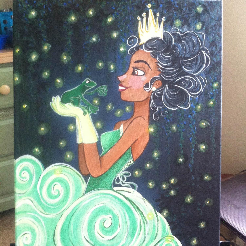 Princess Tiana Art: Princess Tiana Original Acrylic Canvas Disney Fine Art