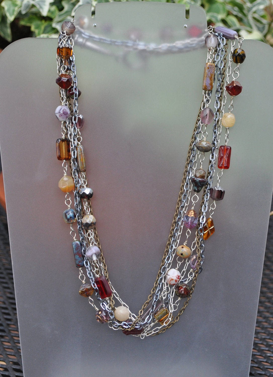 multi strand chain and bead necklace