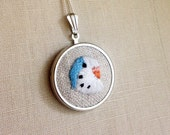 Blue Parakeet Bird Budgie Embroidered Bird Necklace Embroidery Pendant or Brooch Embroidered Jewelry