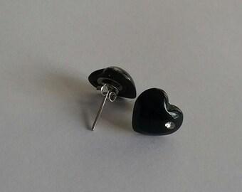 Black Heart Earrings, Black Heart Post Earrings, Gothic Jewelry, Dark Heart Jewelry, Halloween Costume Accessory,