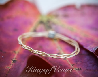 Braided Ring, 24k Gold Plated, Delicate Gold Stacking Ring, Thin Gold Ring, Delicate Ring, Braid Ring, Gold Stack Ring, Thin Ring, Simple