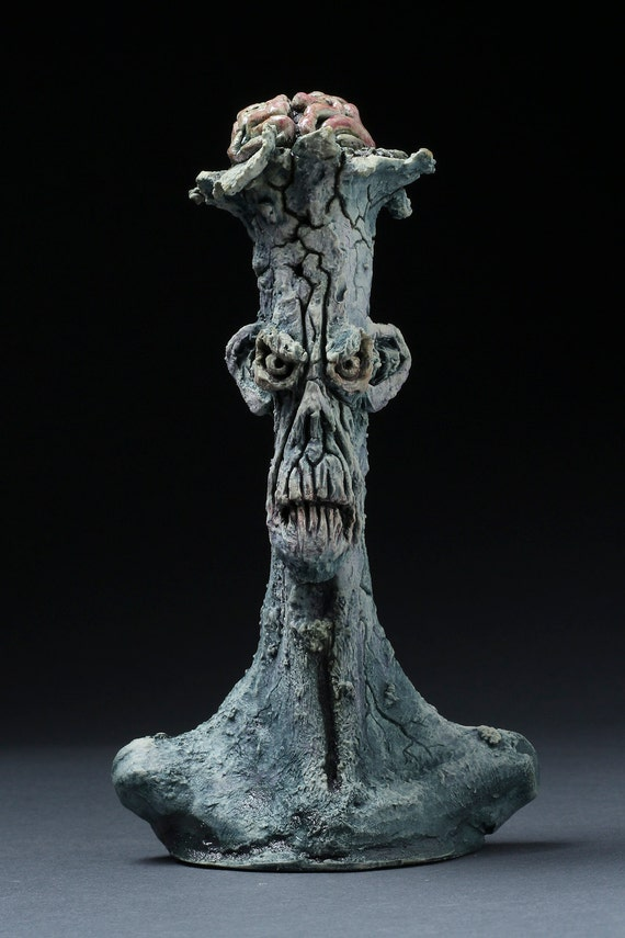 Cracked Zombie Bust - Hand Sculpted - One of a Kind