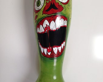 Hand Painted Zombie Face 32 oz. Pilsner Beer Glass