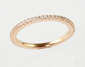 Rose Gold Wedding Band, Sterling Silver, Full Eternity band ring, Engagement Ring, Thin CZ ring band, Micro Pave Ring, Matching band