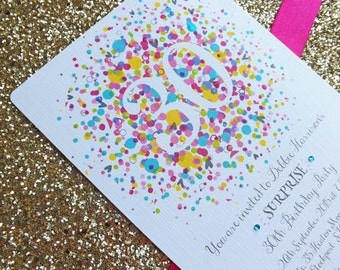 A5 Confetti Bomb Glitter Party Invitations, All ages, Any Colours, Made to Order