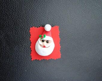 Santa Polymer clay pin