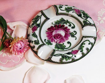 Vintage Ashtray Hand Painted Floral Raised Design Shabby Chic White and Pink