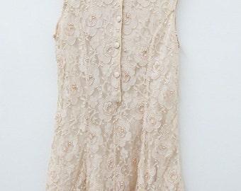VINTAGE Pale Pink Beaded Lace Dress Sleeveless Party Dress Size Medium