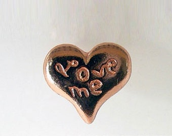 """8 pcs/pk Small Pewter Button, """"Love me"""" Heart shaped with back loop"""