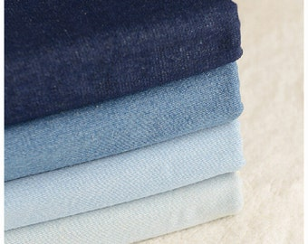 "Washed denim fabric Cotton Fabric/Light Weight Denim Fabric/ Blue Dots Stars Cotton Fabric/ Blue Jeans fabric- 1/2 yard 18""X55"""