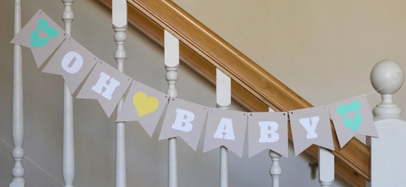 Oh Baby banner, Baby Shower, Baby's arrival, Nursery decor, Neutral colors