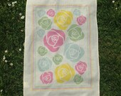 Tea towel, Drying up cloth floral style, pink, green, yellow, blue original design