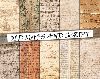 Old maps and script digital paper: vintage maps, script and handwriting on paper and distressed wood; for commercial use