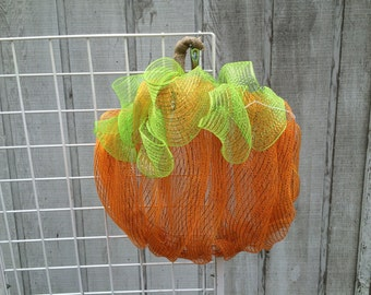Deco Mesh Pumpkin Wreath with a Burlap Stem