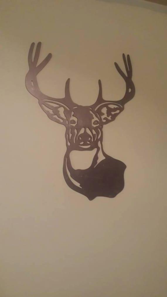 CNC Plasma Cut Deer Head Wall Art / Man Cave Garage Metal Sign Powder Coated or Raw Steel