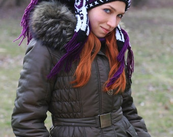Purple crochet Hat Imitation india headdress Native Chief beanie Winter Feather Knit Shaman gift violet Adult festival clothing civil bonnet
