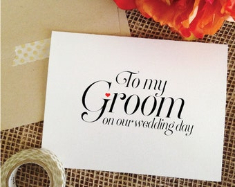 To my Groom on our Wedding Day Card Groom card to my groom card for Groom wedding gift for groom gift from bride to groom gift from bride