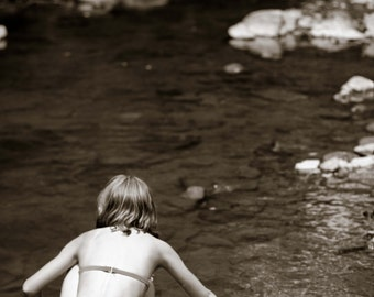 Child in Creek -- Fine Art Photography -- Aluminum Metal Print