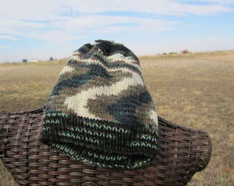 Woodland Green Camo knitted hat