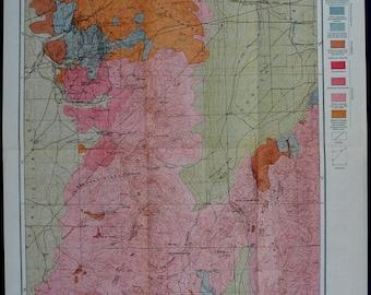 1899 Tintic Mining/Mine District, Utah Goshen Valley UT Geological Map. Superb Antique Julius Bien Lithograph. Original. Over 100 years old.