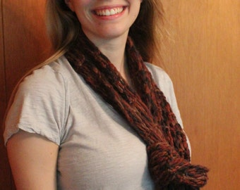Shades of burgundy and brown hand knitted wool scarf
