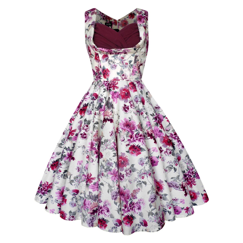 Lady Mayra ELSA Plum Vintage Floral Dress Rockabilly Clothing