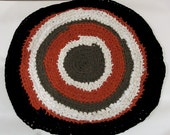 "Round 21"" Rag Rug, Crocheted with recycled vintage fabric"
