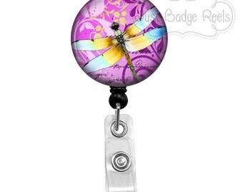 Badge Holder - Dragonfly Badge Reel - Dragonfly Badge Holder - Retractable Badge Reel - Purple Dragonfly Badge Holder    1040