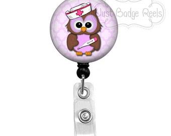 Badge Holder - Nurse Owl Badge Reel -  Nurse Owl Badge Holder - Retractable Badge Reel - Purple Nurse Owl Badge Reel  1007