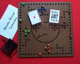 Marbles Joker Pursuit 4 player game board with a 2 player inlay. Game includes marbles, cards, instructions and 3 guick reference cards.